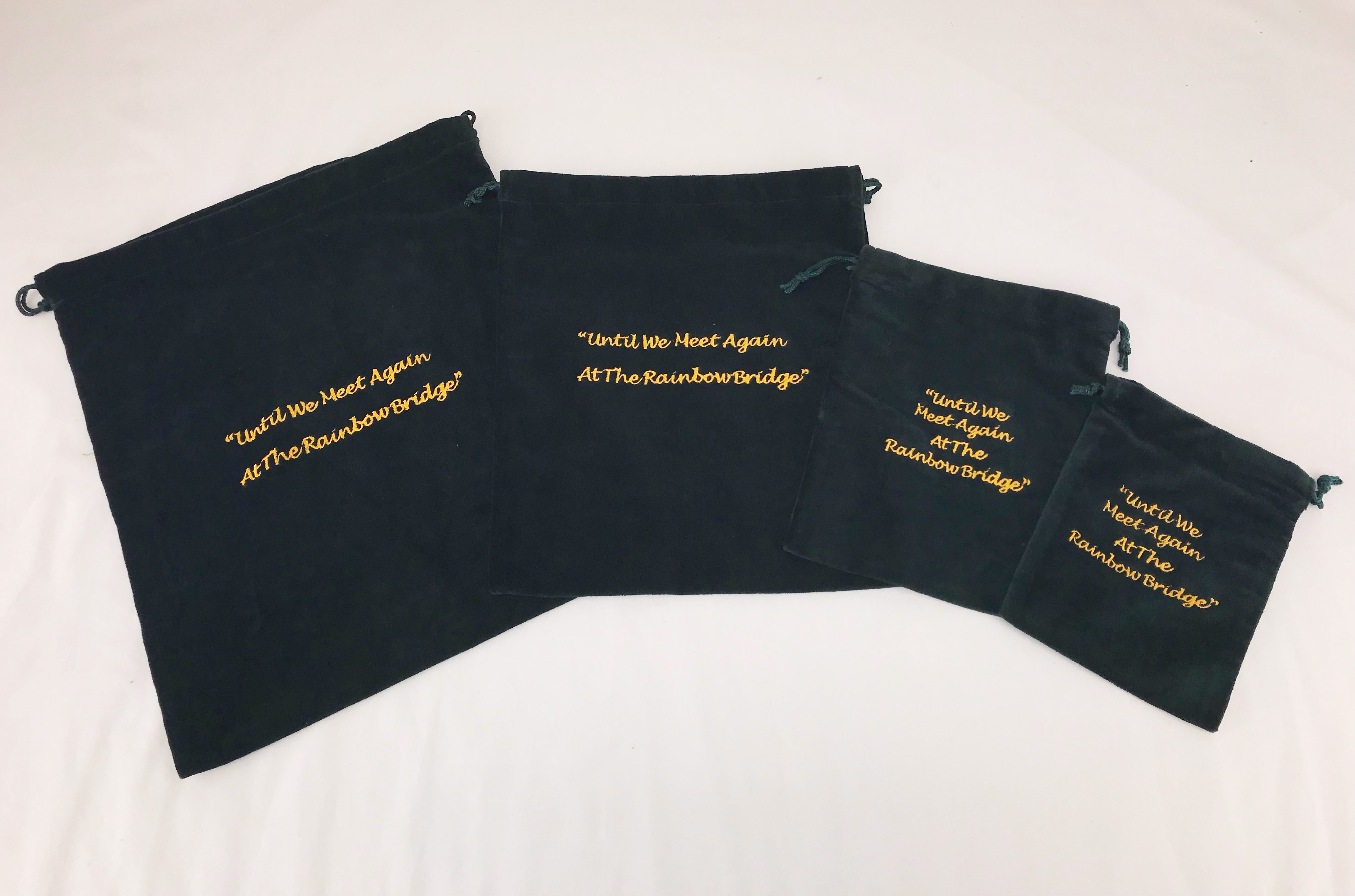 10 x Cremains Bags - Green (Rainbow Bridge Embroidery)