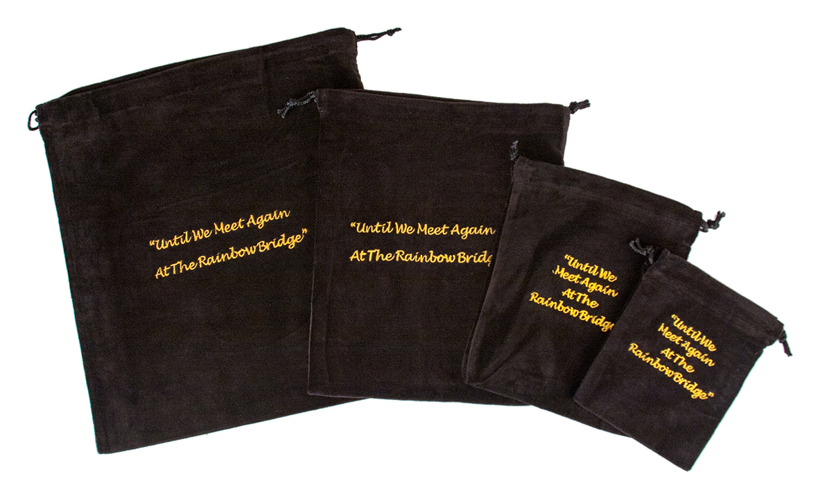 10 x Cremains Bags - Black (Rainbow Bridge Embroidery)