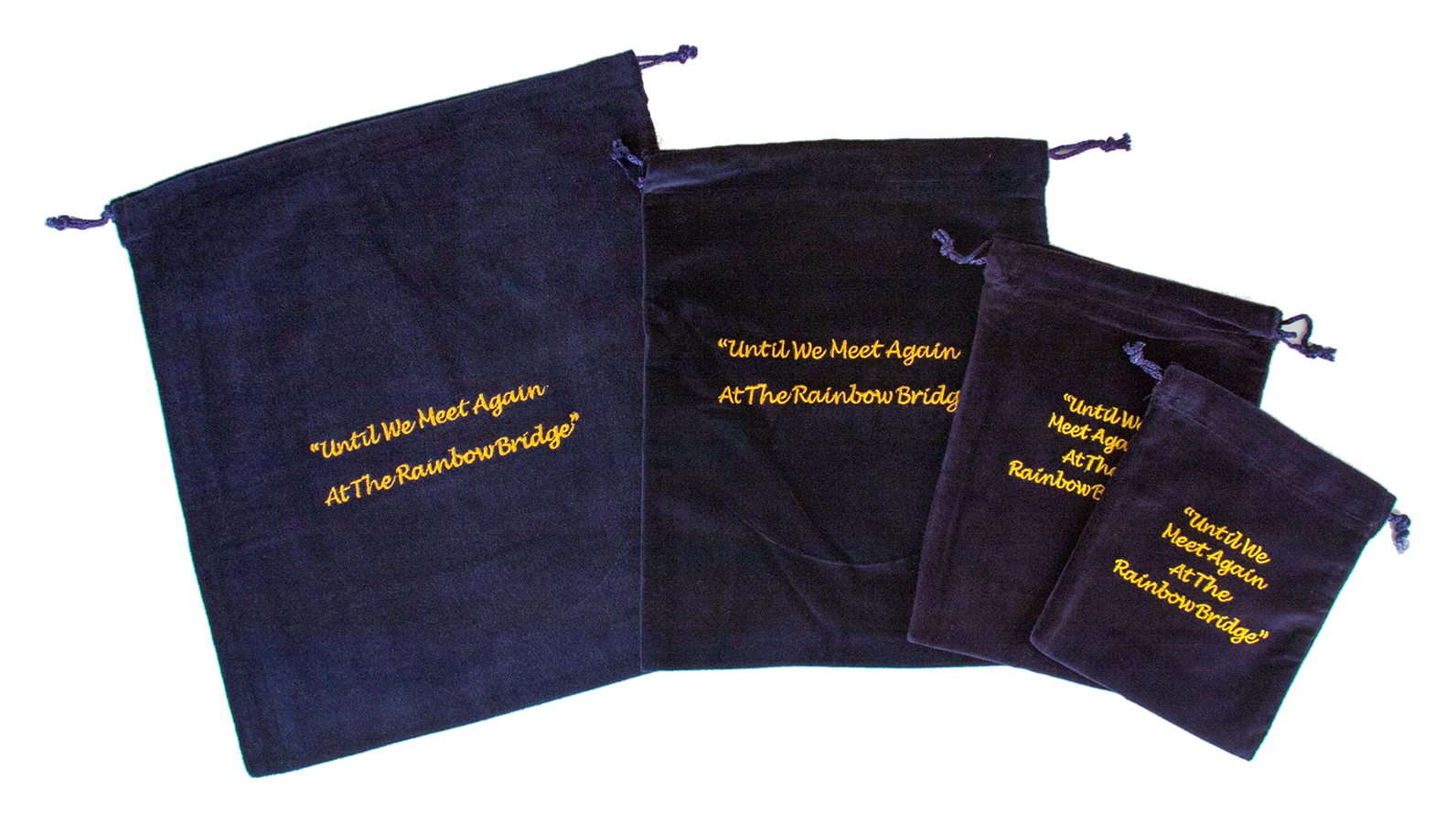 10 x Cremains Bags - Blue (Rainbow Bridge Embroidery)