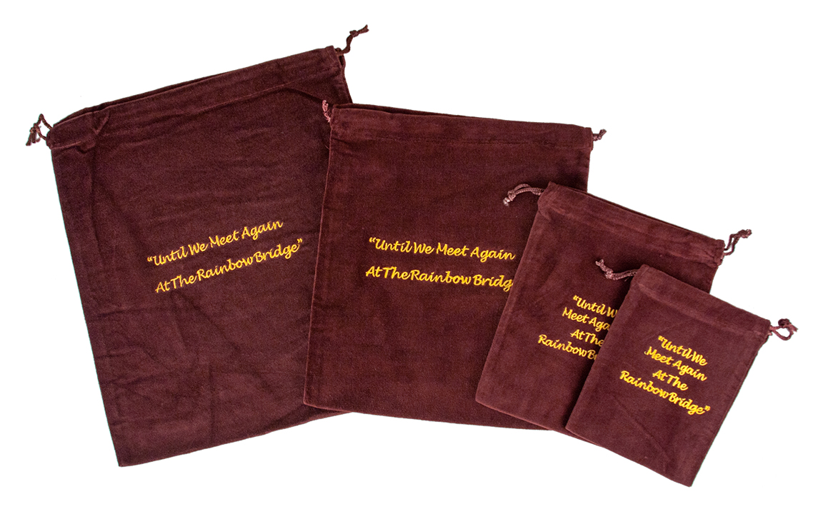 10 x Cremains Bags - Burgundy (Rainbow Bridge Embroidery)
